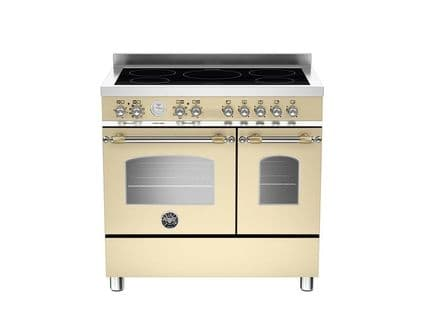 90cm Bertazzoni Heritage 5 zone induction and 2 electric ovens in Matt Cream HER90-5I-MFE-D-CRT