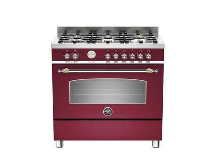 90cm Bertazzoni Heritage 6 burners and 1 electric oven in Burgundy HER90-6-MFE-S-VIT