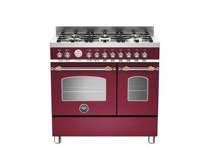 90cm Bertazzoni Heritage 6 burners and 2 electric ovens in Burgundy HER90-6-MFE-D-VIT