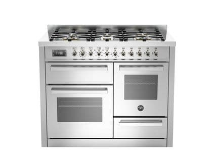 Beratzzoni 110 cm STAINESS STEEL 6 burner electric triple oven Professional Series PRO110-6-MFE-T-XT