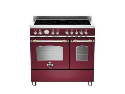Bertazzoni Heritage 90cm 5 zone induction and 2 electric ovens in Burgundy HER90-5I-MFE-D-VIT